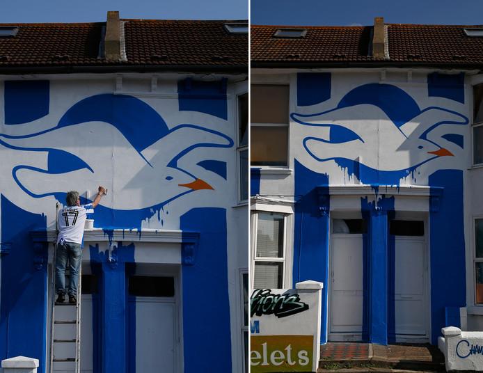 Brighton & Hove Albion promoveerde afgelopen weekend naar de Premier League. 'The Seagulls', zoals de club wordt genoemd, zullen komend seizoen voor het eerst sinds 1983 weer uitkomen op het hoogste niveau in Engeland. Reden voor deze bewoner een meeuw boven zijn voordeur te schilderen.