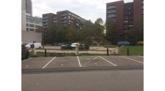 Eindhoven moet regels stellen aan de laadpalen in de openbare ruimte, anders dreigt wildgroei en verrommeling, zegt PvdA-raadslid Arnold Raaijmakers. Hier opladers in het Victoriapark achter de Mathildelaan.