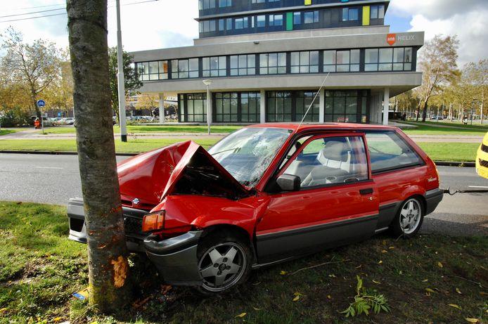 De bestuurder van deze auto raakte maandagmiddag gewond nadat hij tegen een boom botste op het Lange Water in Arnhem.