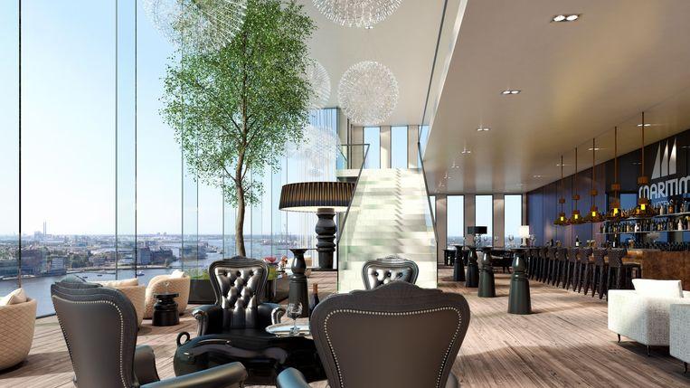 Impressie van de Skybar van het nieuwe Maritimhotel op 110 meter hoogte Beeld IES