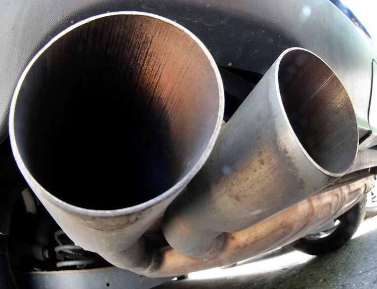 De uitlaat van een dieselauto van Volkswagen.  Beeld AP