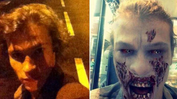 """Adrien Bottolier à gauche et son portrait, grimé """"en zombie"""", tel qu'il est apparu à l'époque sur son profil Facebook"""