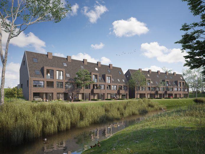 Dijkwoningen in de Waalsprong, Lent, beginnen bij 567.000 euro en lopen op tot 621.500 voor een tussenwoning. Artist impression: BPD