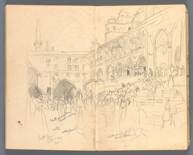 Marius Bauer (1867-1932), Schetsboekje, India, 1897-98.  Beeld Collectie Teylers Museum