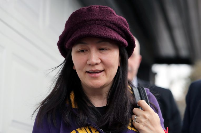 Huawei-topvrouw Meng Wanzhou komt aan bij de rechtbank in Canada. Beeld null