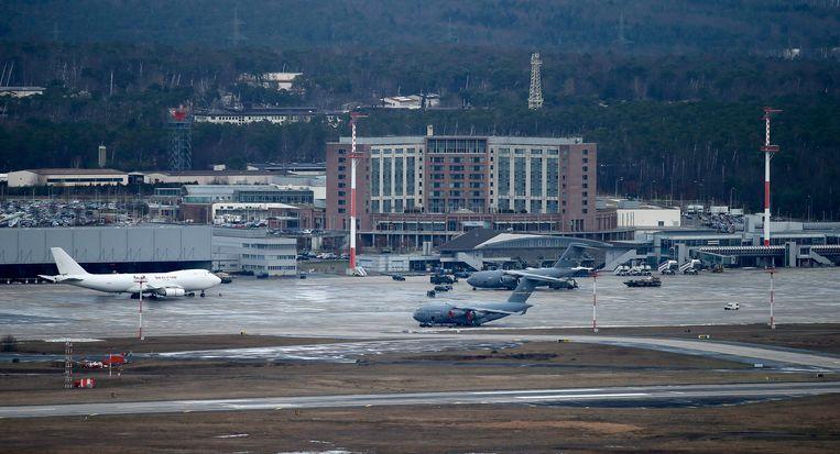De Amerikaanse vliegbasis Rammstein in Duitsland.  Beeld EPA
