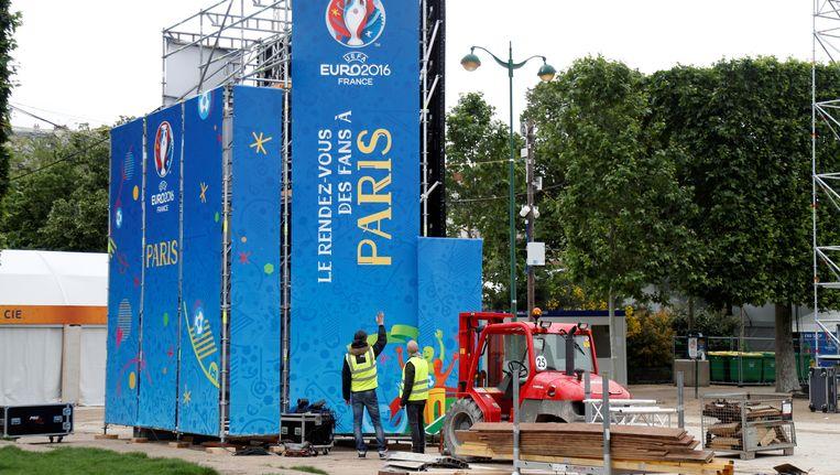 Voorbereidingen voor het EK 2016 in Parijs. Beeld reuters