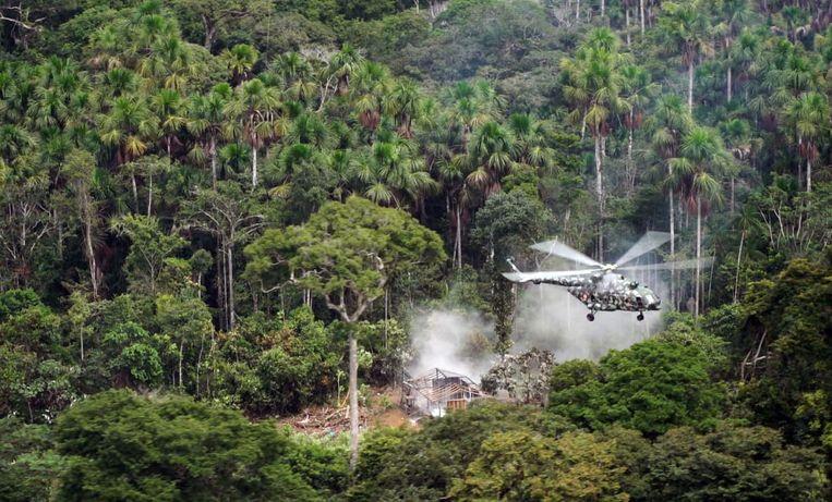 Tijdens de vernietiging van cocaïneplantages in het noordelijk Amazonewoud in Peru.