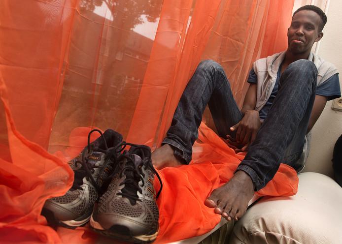 Ibrahim Abdi Ali voelt zich thuis bij TTH. De 15-jarige Somaliër geldt als groot talent. Foto Theo Kock