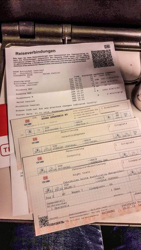 Papieren tickets voor de reis