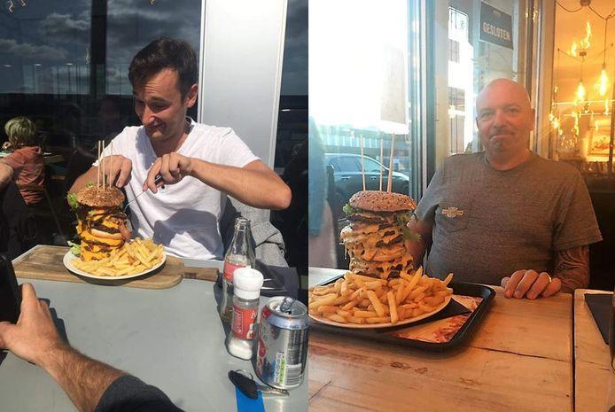 Er waren voorlopig twee uitdagers. Die slaagden er niet in de hamburger op te eten.