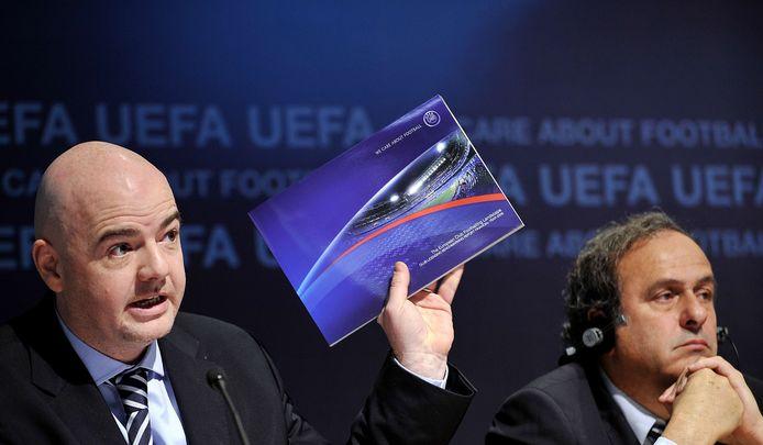 FIFA-baas Gianni Infantino (links) en Michel Platini.