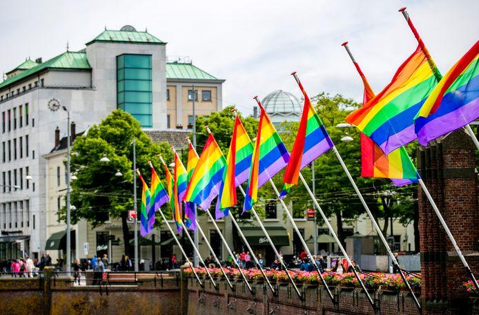 De regenboogvlaggen aan de Hofvijver tijdens The Hague Pride, ter illustratie.