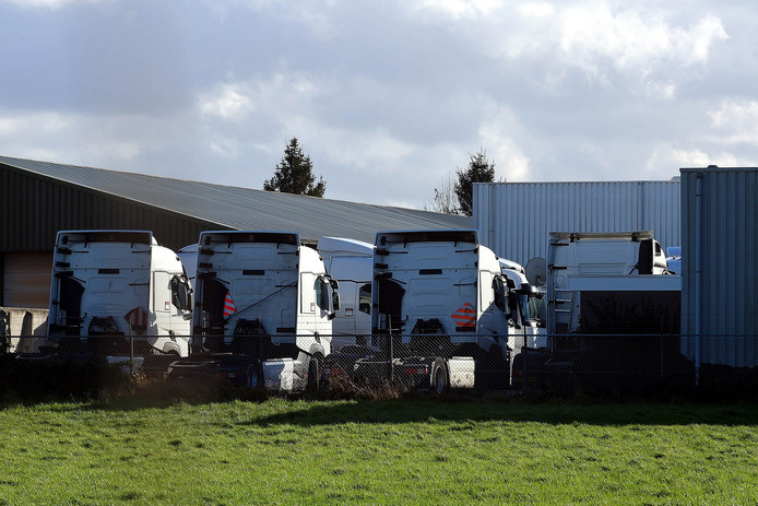 De geleasde trucks van de failliete Oudenbossche transportonderneming Survivor mogen van de curator het terrein niet meer af. FOTO Peter van Trijen