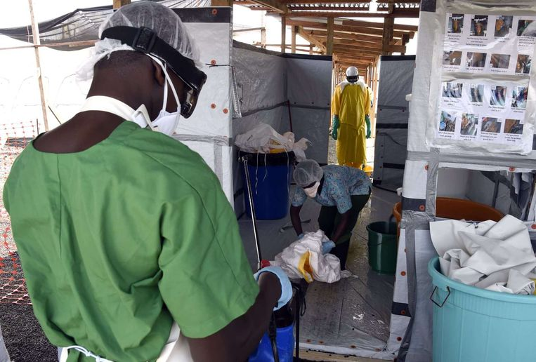 Ebola behandelingscentrum in Monrovia, Liberia. Beeld afp