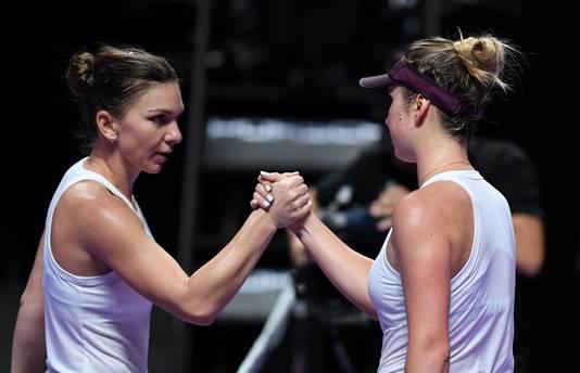 Simona Halep (links) en Elina Svitolina.