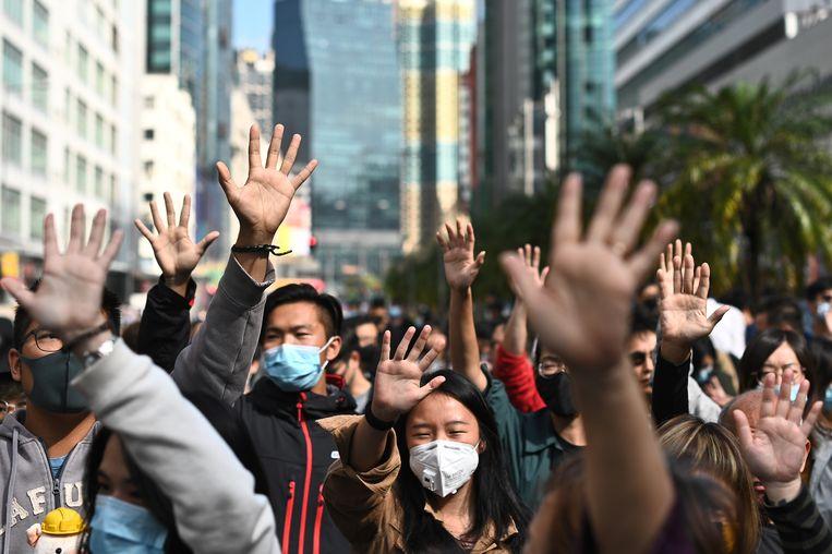 In Hongkong zijn demonstranten opnieuw de straat opgegaan. Beeld AFP