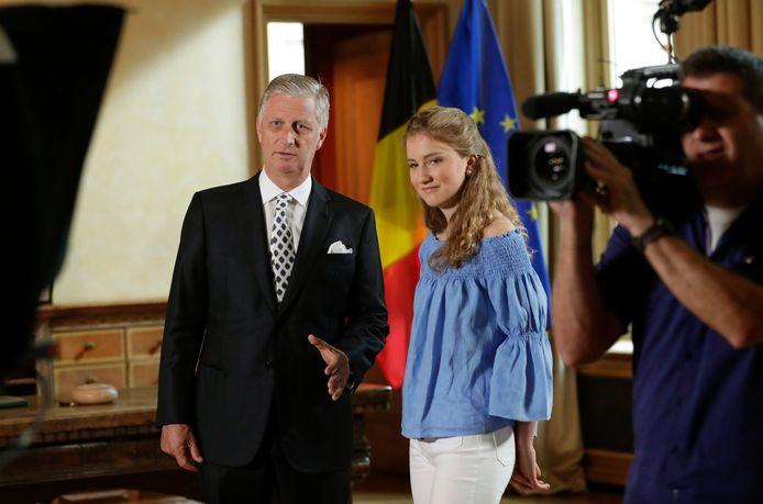 Koning Filip en prinses Elisabeth, klaar voor de speech voor de nationale feestdag in 2019.