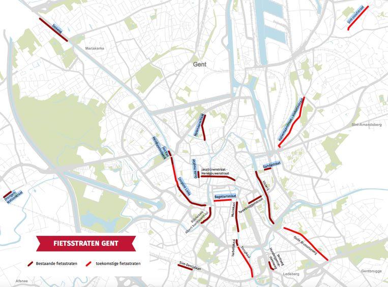 De stad Gent lanceerde deze week een nieuwe overzichtskaart met alle bestaande (donkerrood) en geplande  fietsstraten (lichtrood)