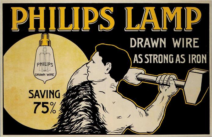 Reclame van Philips voor de gloeilampen met getrokken wolfraamdraad.