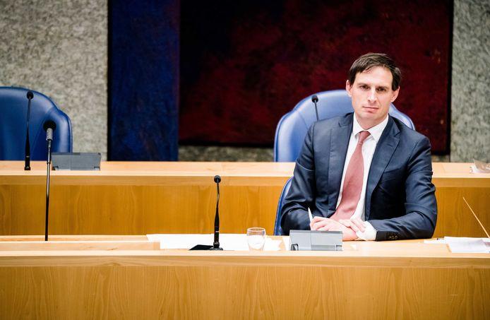 Minister Wopke Hoekstra van Financiën (CDA) tijdens het verantwoordingsdebat in de Tweede Kamer.