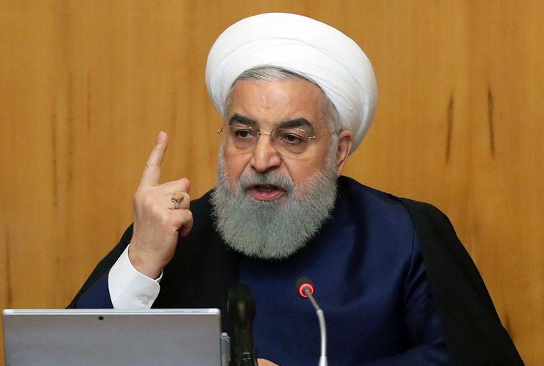 De Iraanse president Hassan Rouhani tijdens een bijeenkomst van vorige week woensdag. Beeld EPA