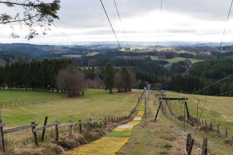 Malmedy, 31 januari: de piste kleurt groen. Skiërs hebben hier weinig te zoeken.