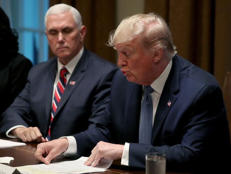 Vicepresident Mike Pence en president Donald Trump. Beeld Getty Images