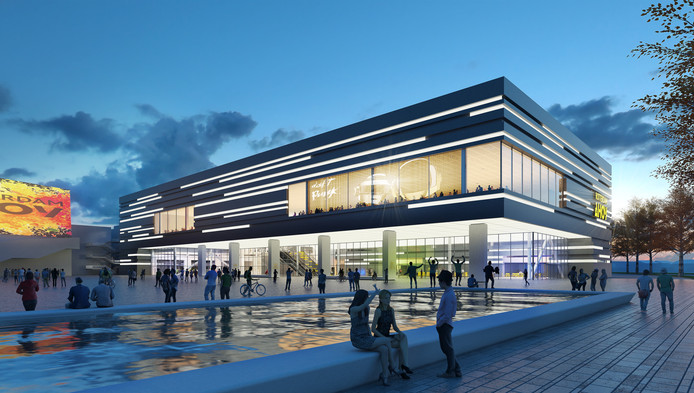 Het voorlopig ontwerp van de nieuwbouw op het voorplein, waarin de grote theaterzaal en de nieuwe entree komen. Het plein zelf wordt een stuk gezelliger.