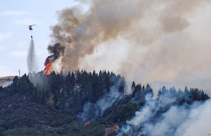 Les hommes du feu tentent d'éteindre un nouvel incendie sur l'île de Grande Canarie, samedi 17 août 2019