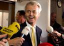Een zichtbaar opgeluchte Geert Wilders.