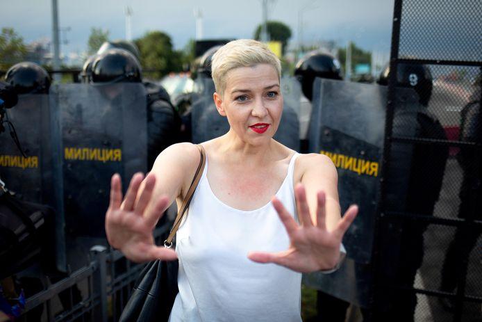 Maria Kolesnikova tijdens een betoging in Minsk op 30 augustus.
