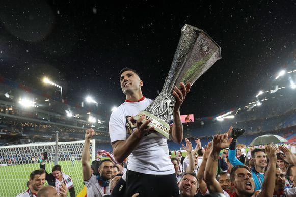José Antonio Reyes bij de Europa League-winst met Sevilla in 2016.
