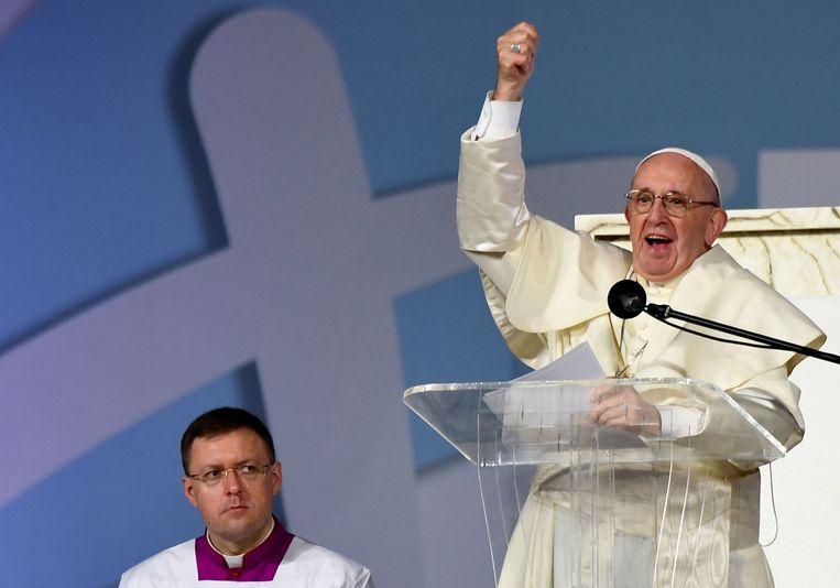 Pope Franciscus tijdens zijn toespraak in Panama.