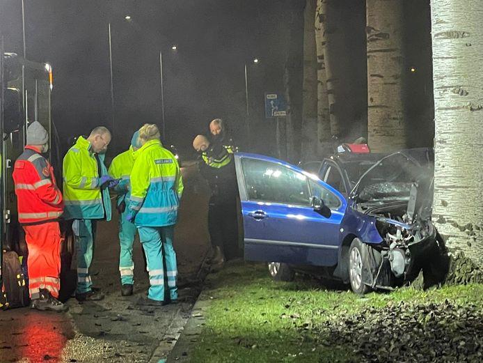 De auto schoot aan de andere kant van de weg tegen een boom.