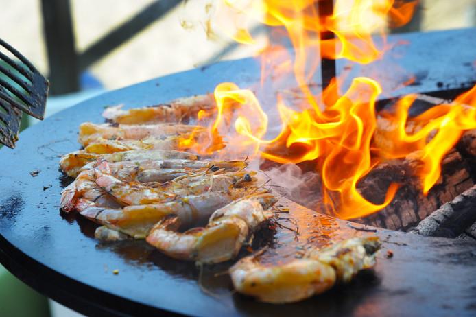Gamba's op de barbecue.