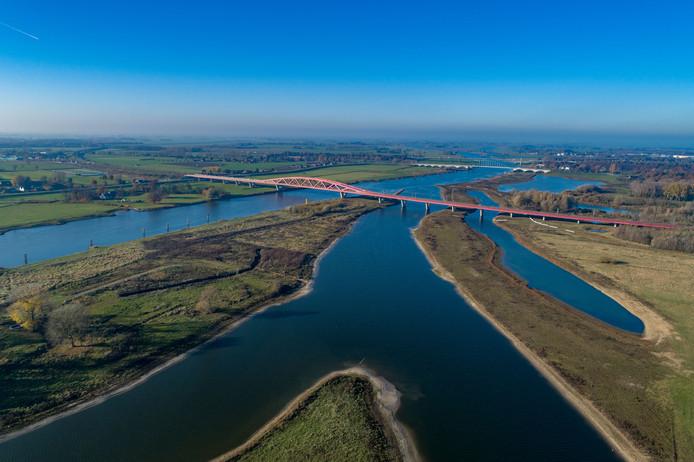 De IJssel en de uiterwaarden bij Zwolle.