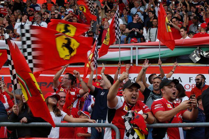 Ferrari-fans op het circuit van Monza in 2018.