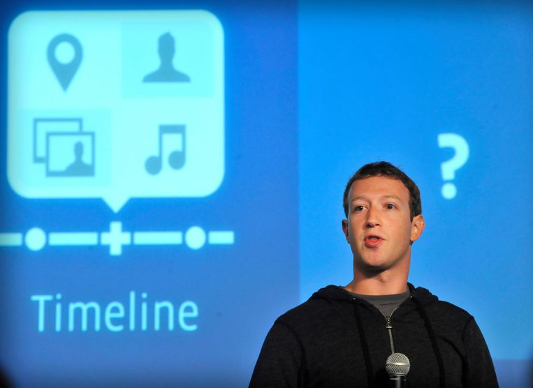 Facebookoprichter Mark Zuckerberg gaat zelfs in capuchontrui naar de aandeelhoudersvergaderingen. Beeld AFP
