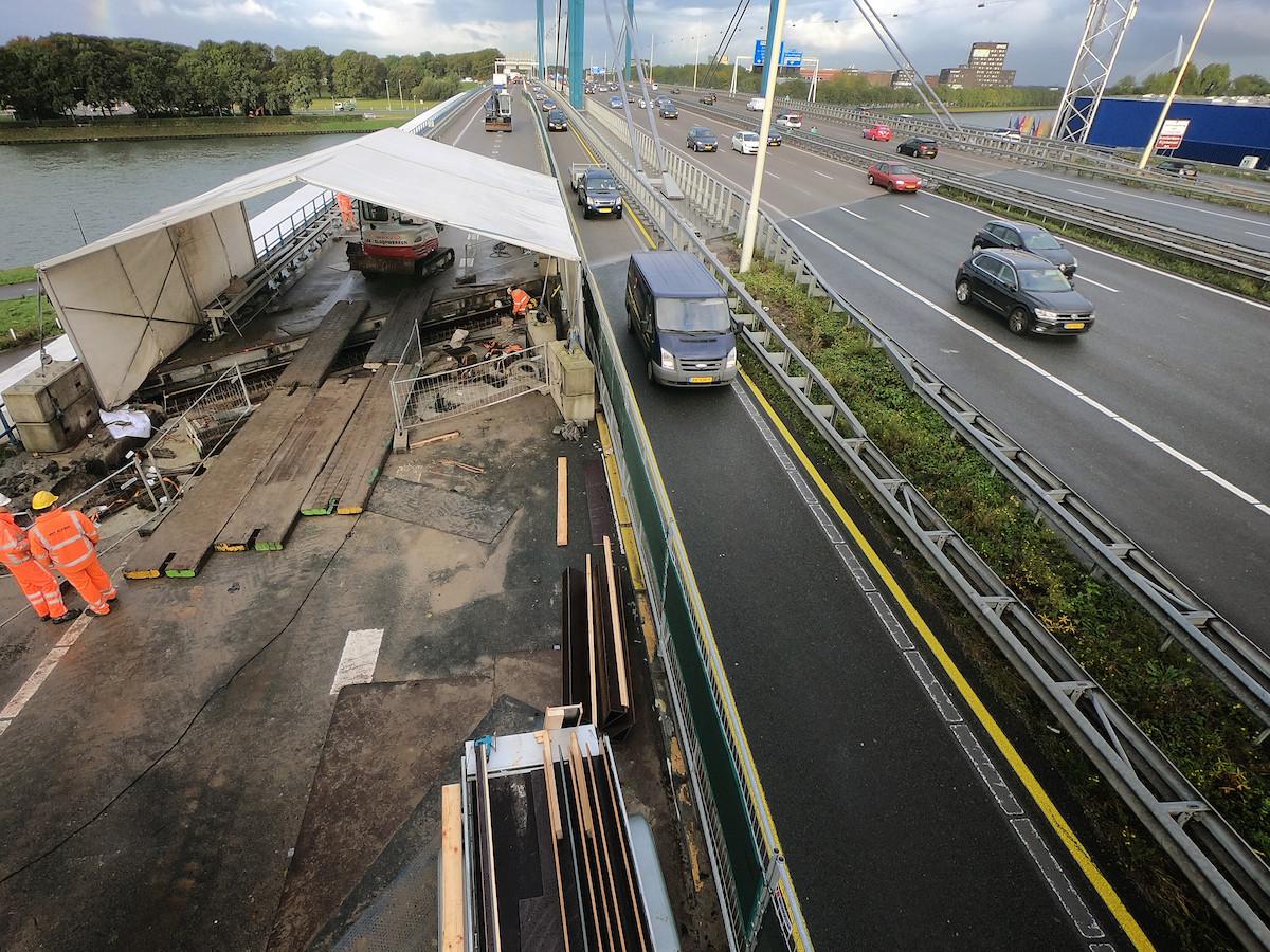 Werkzaamheden op de A12 bij de Galecopperbrug.