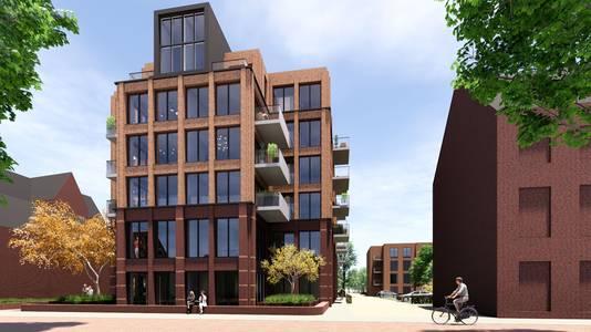 Het zigzag-gebouw aan de Deken van Miertstraat maakt plaats voor een hoog appartementencomplex. Via de straat ernaast kunnen mensen straks met de auto het kloostergebied in.