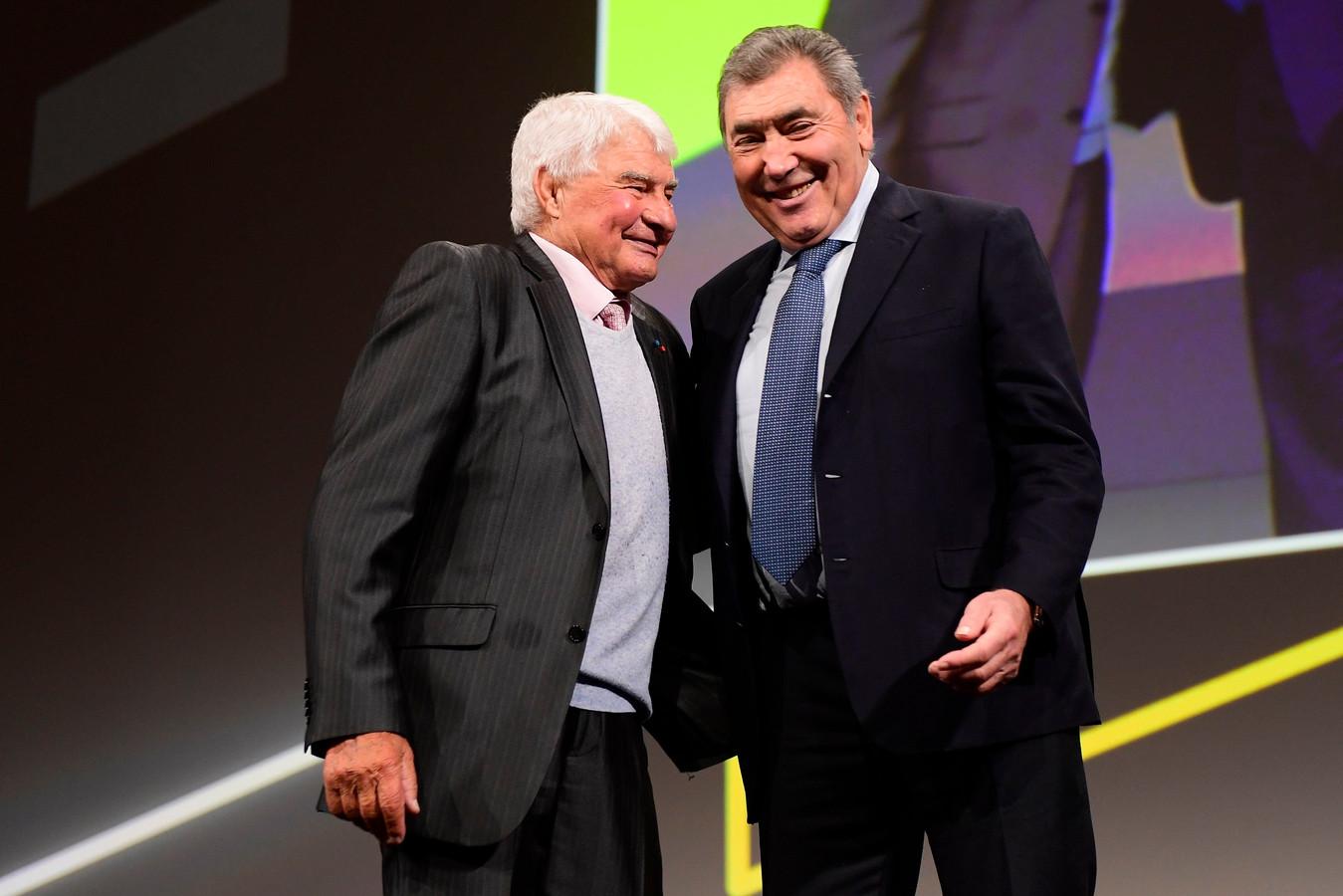 Raymond Poulidor (l) en Eddy Merckx