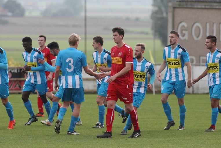 Beeld uit de heenmatch.Vreugde bij Zonnebeke na de 0-1, wat later de winninggoal zou blijken.Wat wordt het zondag?