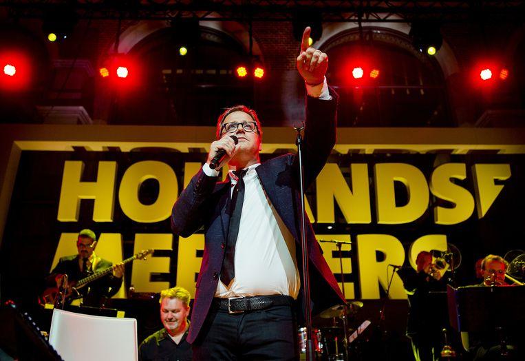 Guus Meeuwis geeft een bijzonder concert in het Rijksmuseum, waar hij nummers zingt van zijn nieuwe album Hollandse Meesters met de New Cool Collective. 17 oktober, 2014. Beeld anp