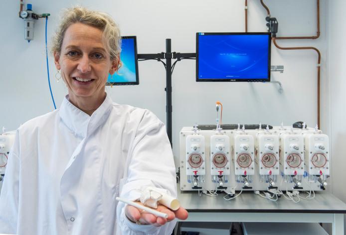 Eliane Schutte van Xeltis met enkele producten in het lab waar in een speciale machine duurproeven met hartkleppen worden gedaan.
