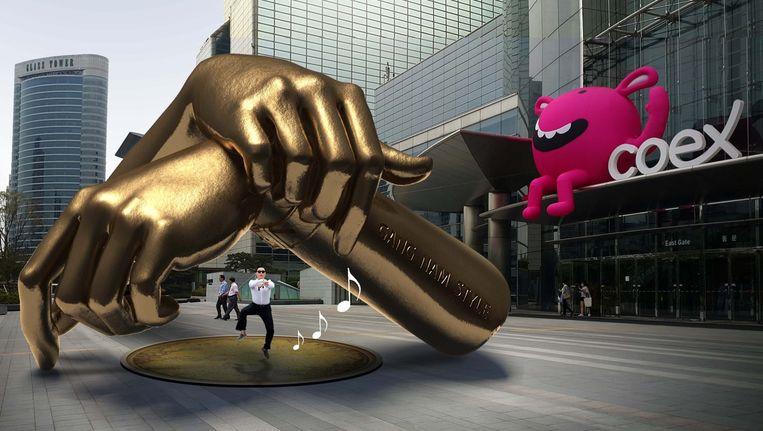 Het standbeeld van 'Gangnam Style' Beeld anp