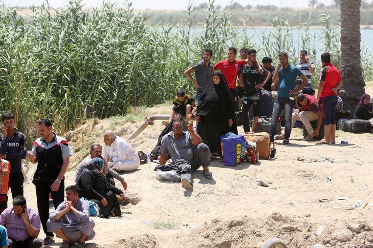 Gevluchte inwoners van Ramadi. Beeld epa