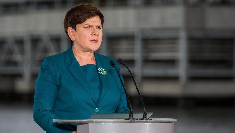 De Poolse premier Beata Szydlo: 'Orde is nodig, veel ngo's zijn nog onderhorig aan de vorige regering.' Beeld epa