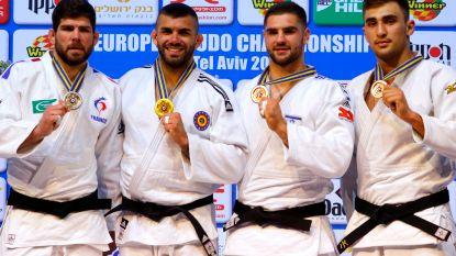 Toma Nikiforov pakt na een ippon de gouden medaille op het EK judo