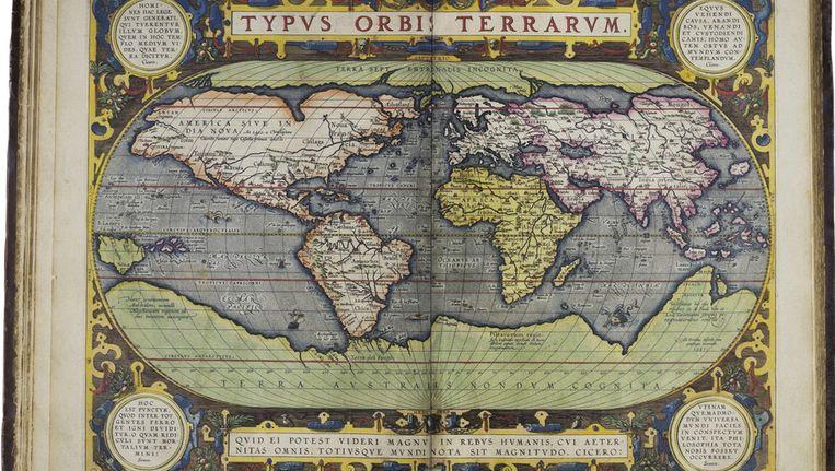 Theatrum Orbis Terrarum van de Antwerpenaar Abraham Ortelius uit 1597; Australië ontbreekt nog. Beeld Het Scheepvaartmuseum